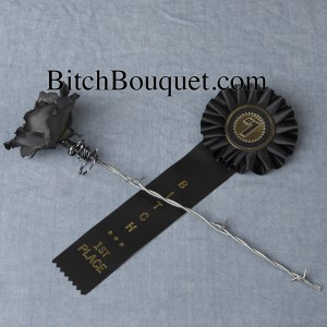 Bitch ribbon and black barbed wire rose